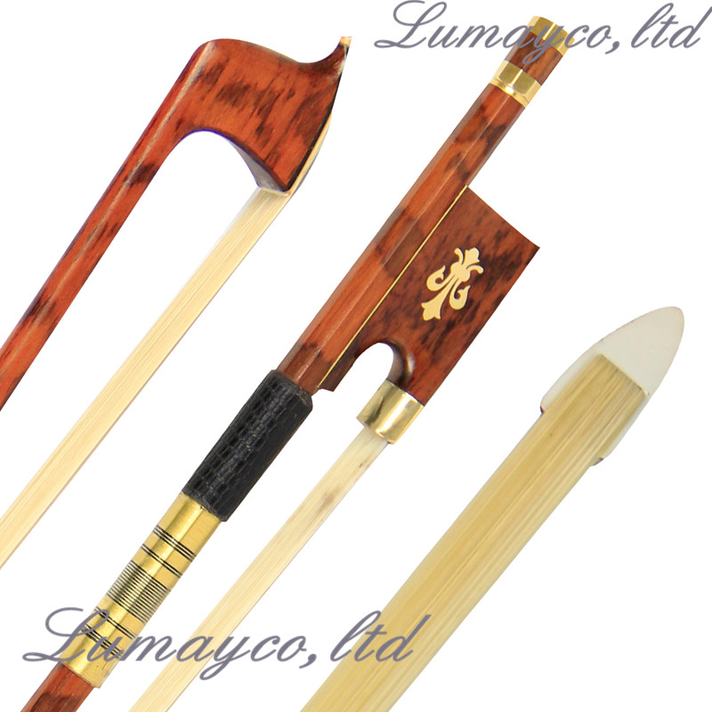 AAA+ 1 Pc High Quality Professional Snake Wood 4/4 Violin Bow Round & Straight Stick Snake Wood Frog Mongolia Horsetail 1 4 size 812vb pernambuco violin bow high density ebony frog with nickel silver good quality hair straight violin accessories