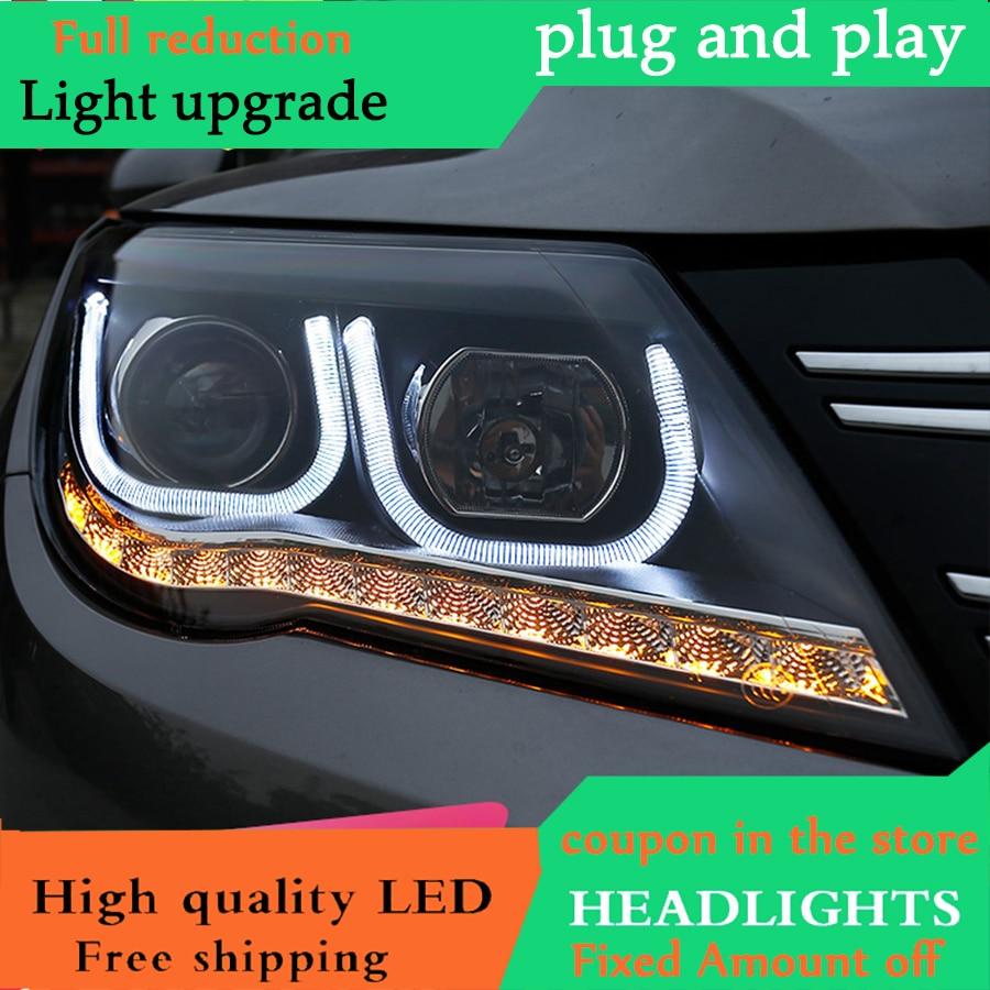 Car Styling for VW Tiguan Headlights 2010 2012 Tiguan LED Headlight DRL Bi Xenon Lens High