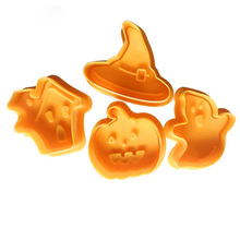 4pcs/set Halloween Cookie Stamp Biscuit Mold 3D Plunger Cutter DIY Baking Mould Cutters For Kitchen Tools
