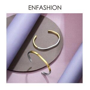 Image 3 - ENFASHION פשוט פתוח קאף צמידי צמידים לנשים מעורב צבע נירוסטה מינימליסטי תכשיטי חברים מתנות BC192007