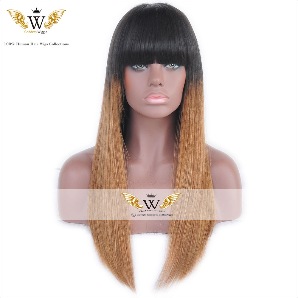 5A 150Density Glueless Full Lace Human Hair Wigs For Black Women Remi Hair  Lace Front Wigs With Bang Two Tone Ombre Lace Wigs 0f7185e493