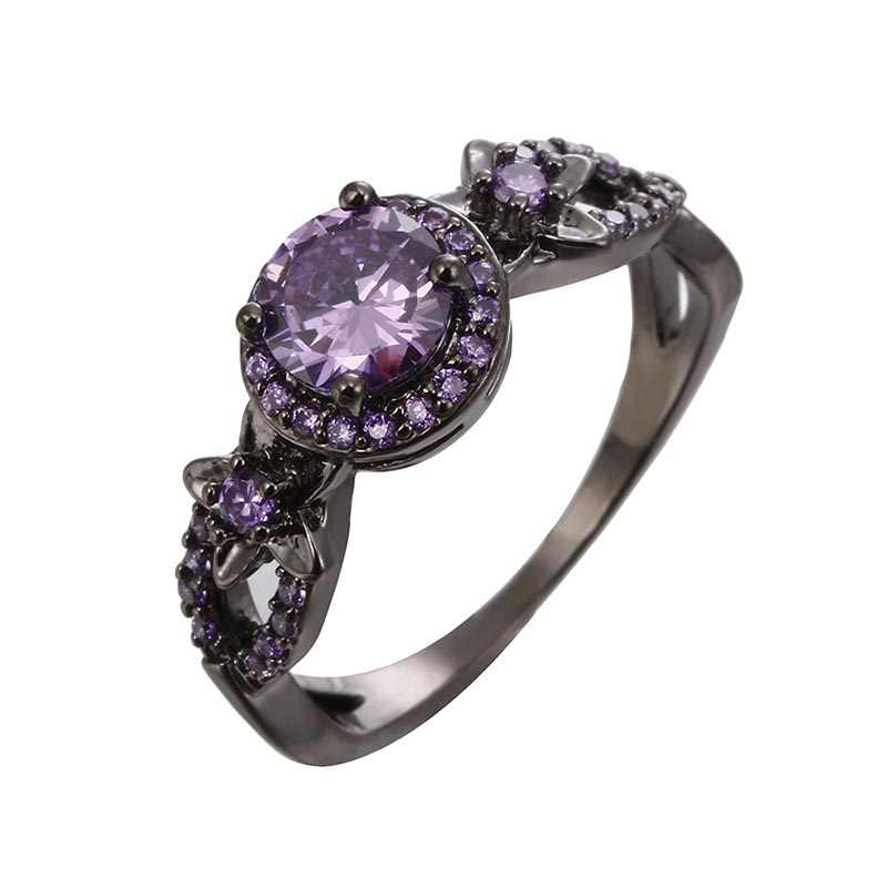 Vintage Star แหวนเจ้าหญิง Queen Pentagram แหวนประดับเพชร CZ แท้เครื่องประดับ Bague Femme สีแดงสีม่วงหินคริสตัล