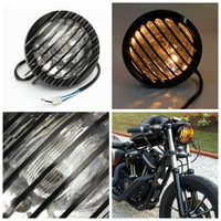 6''Black Motorcycle Bike Bullet H4 Halogen Buld Headlight Lights Lamp & Grill Cover For Harley Bobber Chopper Custom Car Styling