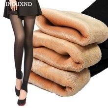 INDJXND сексуальные модные зимние толстые бархатные теплые тонкие женские леггинсы Deportes брюки черные двухслойные Высококачественные эластичные