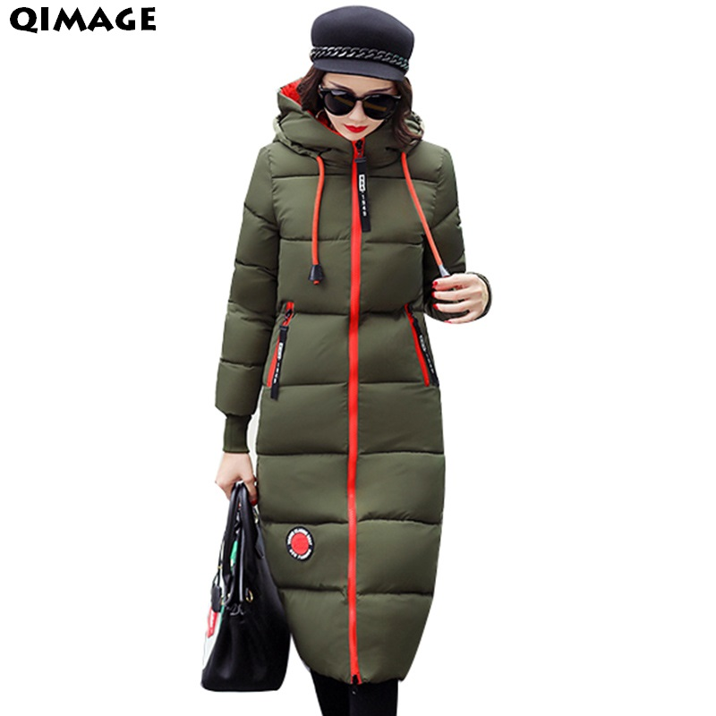 QIMAGE 2017 Hooded Winter Coats Women Winter Jacket Under Knee Long Parka Warm Cotton Wadded Jackets Women Outerwear Big Size
