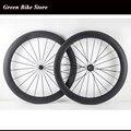 Ультралегкие 700C Углеродные колеса для велосипеда 60 мм трубчатые колеса для шоссейного велосипеда 23 мм ширина матовая отделка
