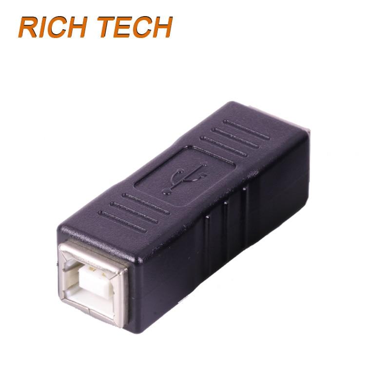 12pcs/lot Straight USB Adapter B Type USB2.0 Female Jack to USB2.0 B Type Female Socket Connector USB F/F Converter
