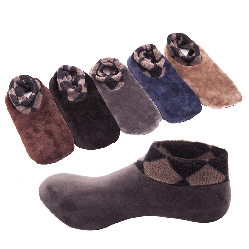 Uwback Winter Men Socks Fleece Warm Floor Socks 2018 Winter Adult Anti-Slip Fashion Slipper Socks 1 Pair/Lot Mens Socks XA500
