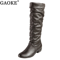 GAOKE kích thước Lớn 2018 new đến Gối cao Phụ Nữ Boots đen Trắng Nâu phẳng gót nửa khởi động mùa xuân giày mùa thu người phụ n