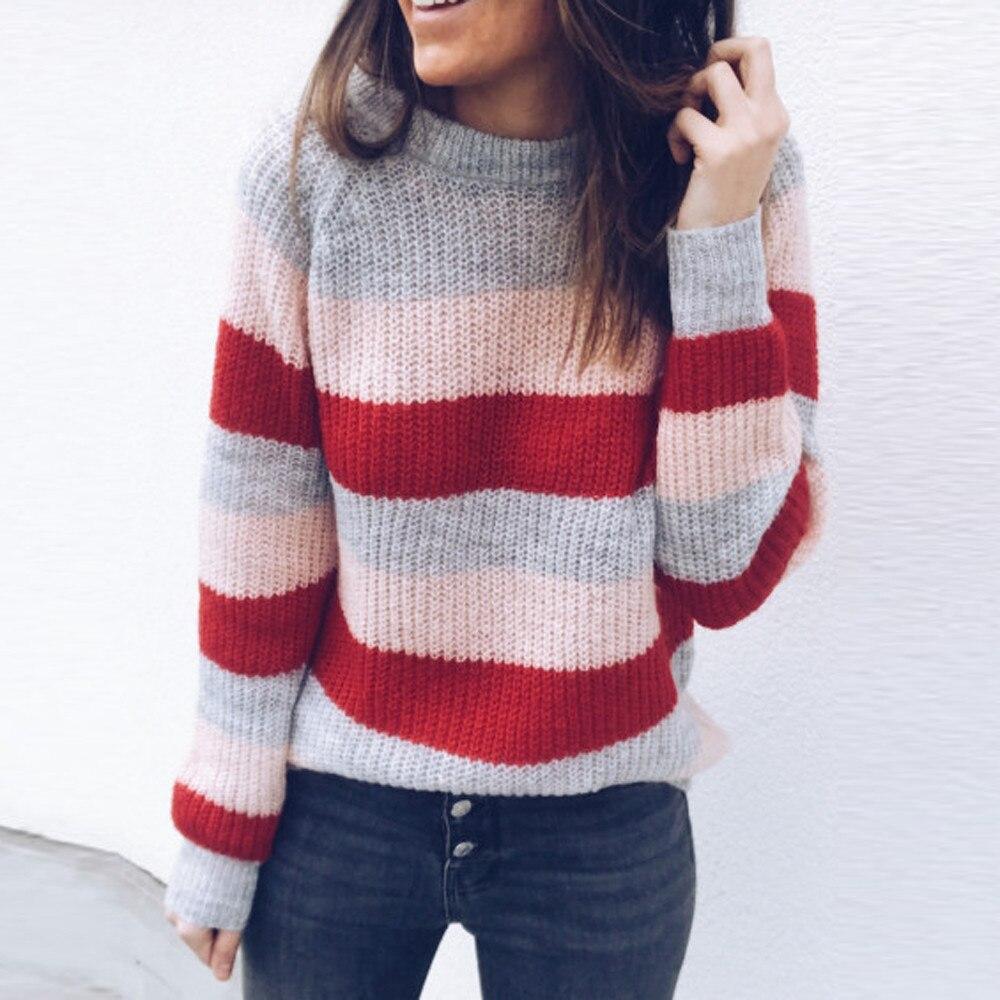 2020 winter sweater Women O-Neck Long Sleeve Stripe Knitted Pullover Loose Sweater Jumper women Knitwear plus size sweater