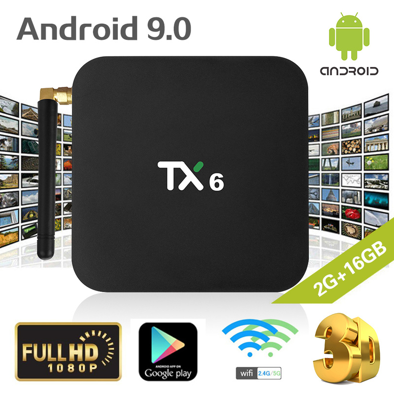 TX6 Intelligent Android 9.0 TV BOX 2G 16G Allwinner H6 Quad core 2.4G + 5G Double wifi BT 4.1 Set Top Box 4 K HD H.265 Media Player NouveauTX6 Intelligent Android 9.0 TV BOX 2G 16G Allwinner H6 Quad core 2.4G + 5G Double wifi BT 4.1 Set Top Box 4 K HD H.265 Media Player Nouveau