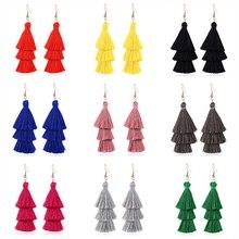 HOCOLE Bohemian 3 Layered Long Tassel Drop Earrings For Women Statement Fringed Dangle Earring 2019 Brincos Fashion Jewelry Lady