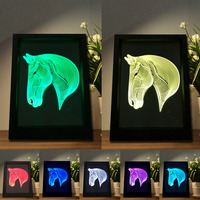 7 Colori Che Cambiano Gradiente Moda Animale Testa di Cavallo Led Visione Cornice luce 3D LED Scrivania Lampada Da Tavolo Camera Da Letto di Casa Partito Decor Regali