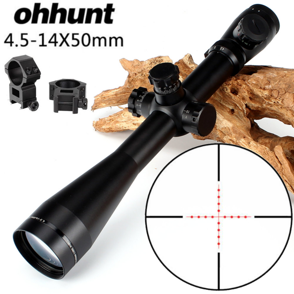 ohhunt 4.5-14X50 Hunting Rifle Scope Riflescope Mil Dot Illuminated Top Quality Tactical Optical Sight Free Shipping new tactical telescope rifle 4 5 14x50 hunting rifle scope m1 riflescope mil dot illuminated optical sight air guns china