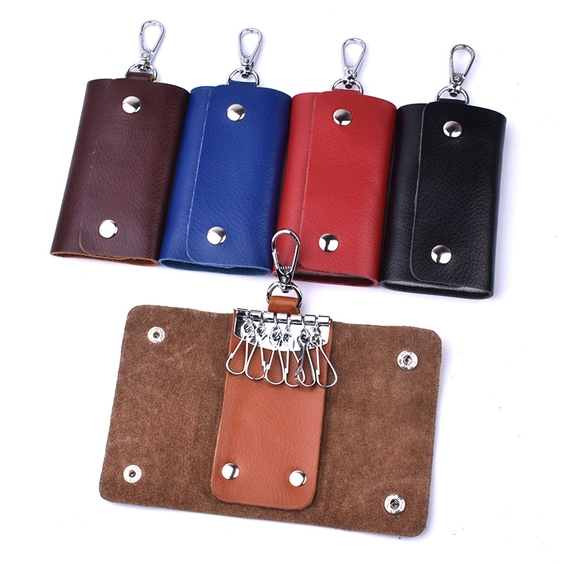 Genuine Leather Key Case Card Holder Bag Wallet Housekeeper Keychain Key Organizer Case Cover Key Pouch Portachiavi Pelle