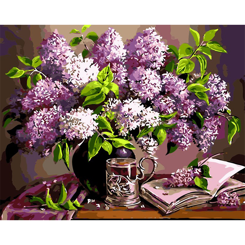 DIY Digital Painting By Numbers Package Purple flower oil painting mural Kits Coloring Wall Art Picture Gift frameless