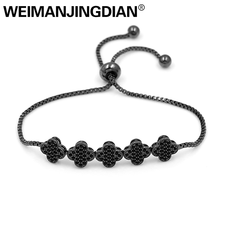 WEIMANJINGDIAN Cubic Zirconia Crystal CZ Zircon Four Leaf Clover Adjustable Bracelets for Women or Men or fabric camouflage leaf headgear