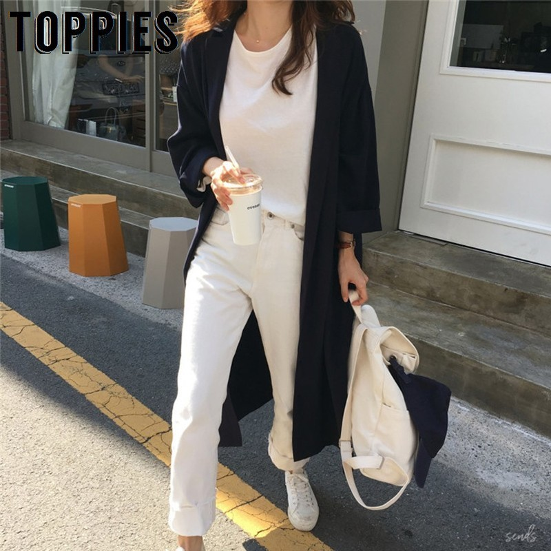 2019 Women Oversized Long Trench Coat Korean Sunscreen Windbreaker Single Breasted Coat Plus Size Women Clothes