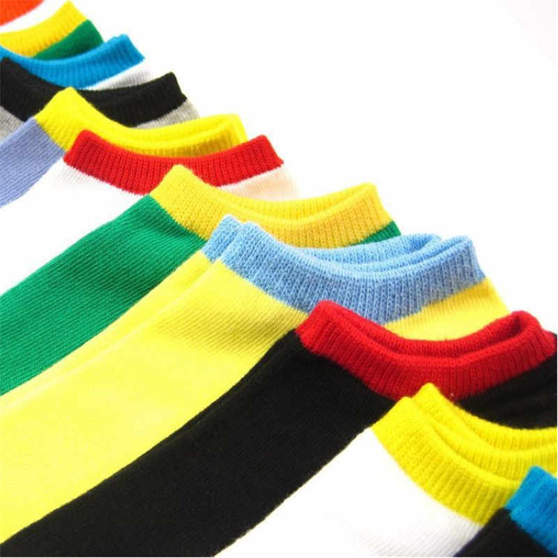 20 шт. = 10 пара/лот 2018 мужчин Носки хлопок Мода сплошной Цвет счастливый лодка носки на сезон весна-лето мужской Повседневное Дышащие носки