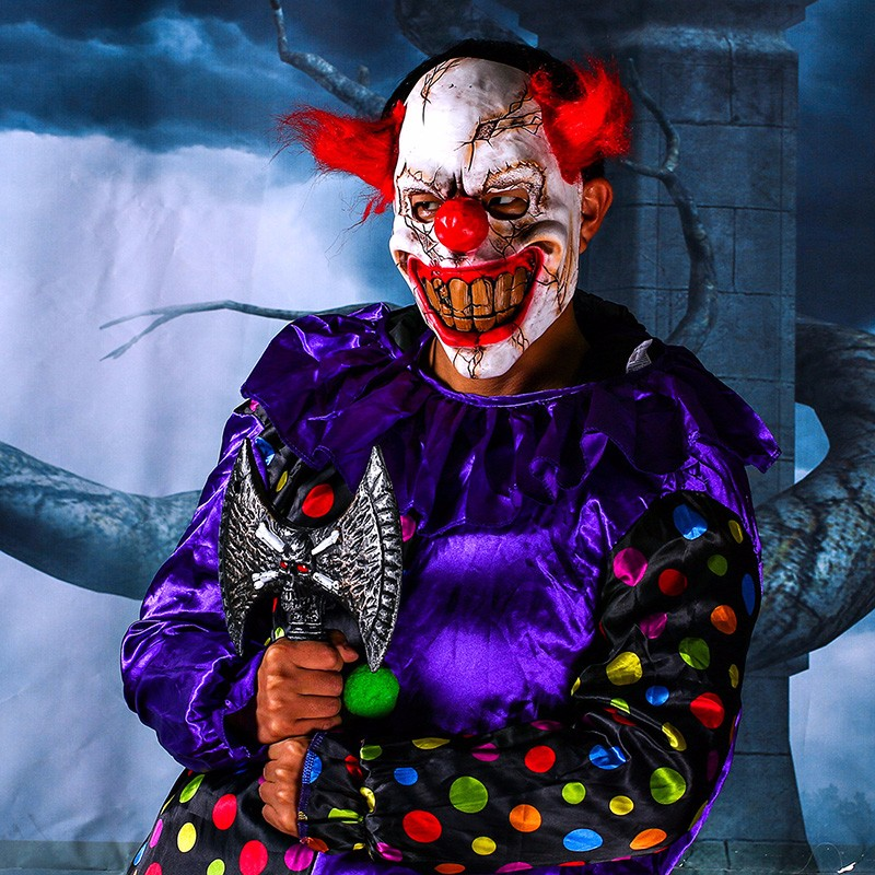 Scary Clown Latex Mask Big Mouth Red Hair Nose Cosplay Full Face Horror Masquerade Adult Ghost Party Mask for Halloween Props (2)