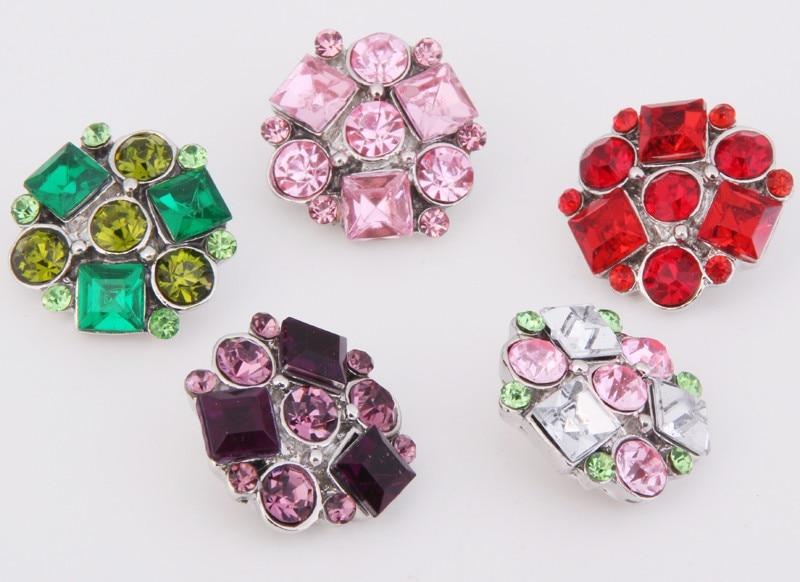 PAPAPRESS  10pcslot  High Quality Flowers 18mm Metal Choker Snap Button Rhinestone Styles Button Snaps Bracelet Jewelry M810