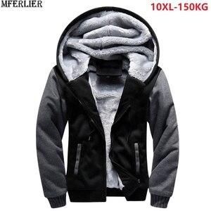 Image 1 - Мужские парки, синие толстые теплые флисовые куртки с капюшоном, большие размеры 8XL 9XL 10XL, зимняя черная верхняя одежда, красное пальто для дома