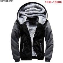Erkek parkas ceketler mavi kapşonlu kalın sıcak polar artı büyük boy büyük 8XL 9XL 10XL kış siyah kapı dışarı giyim ceket kırmızı ev