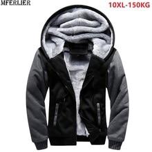 Người đàn ông parkas áo khoác màu xanh đội mũ trùm đầu dày lông cừu ấm áp cộng với kích thước lớn lớn 8XL 9XL 10XL mùa đông màu đen ra khỏi cửa ra mặc áo khoác màu đỏ nhà