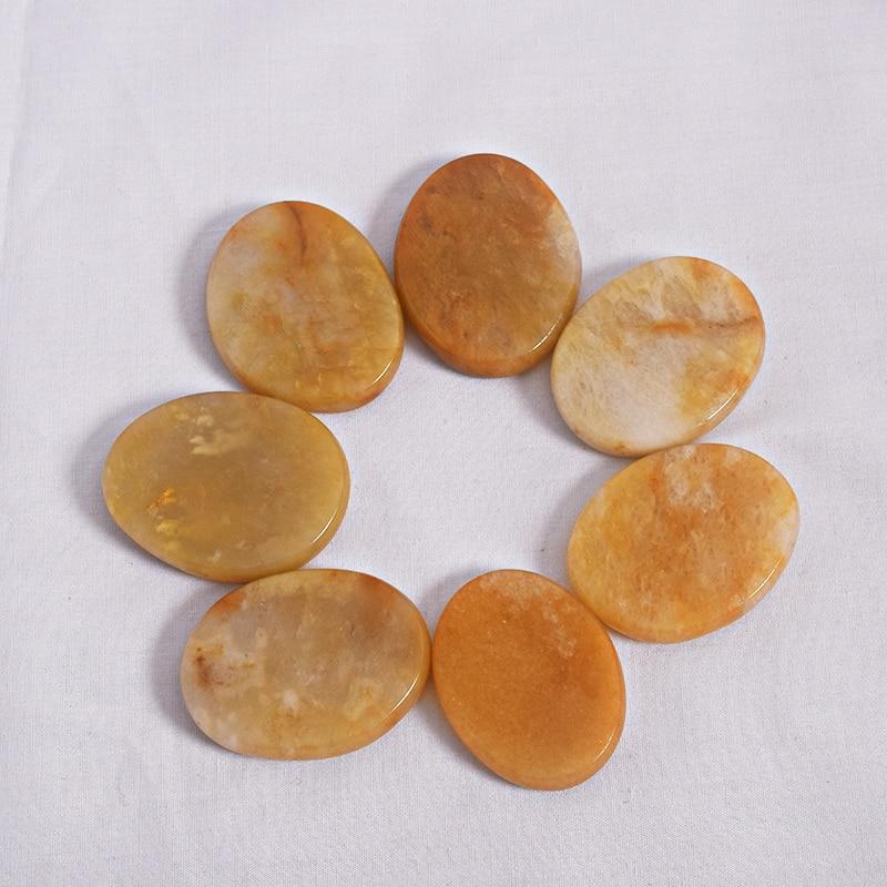 7ks přírodní ručně vyráběný žlutý nefritový palmový kámen 22-26g Crystal Reiki Quartz Healing Chakra pro ozdobu