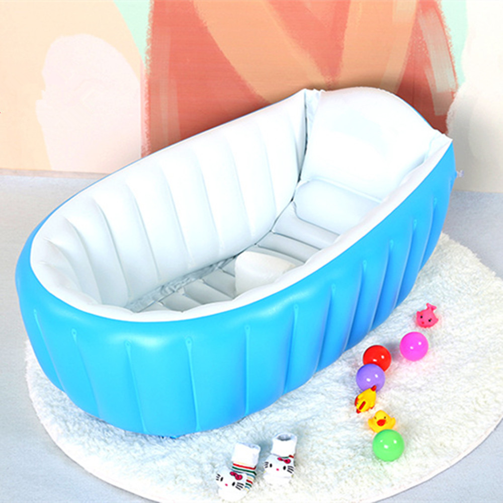 New Portable Inflatable Baby Bath Kids Bathtub Thickening Folding Children Washbowl Children Tub Baby Swimming Pool environmentally friendly pvc inflatable shell water floating row of a variety of swimming pearl shell swimming ring