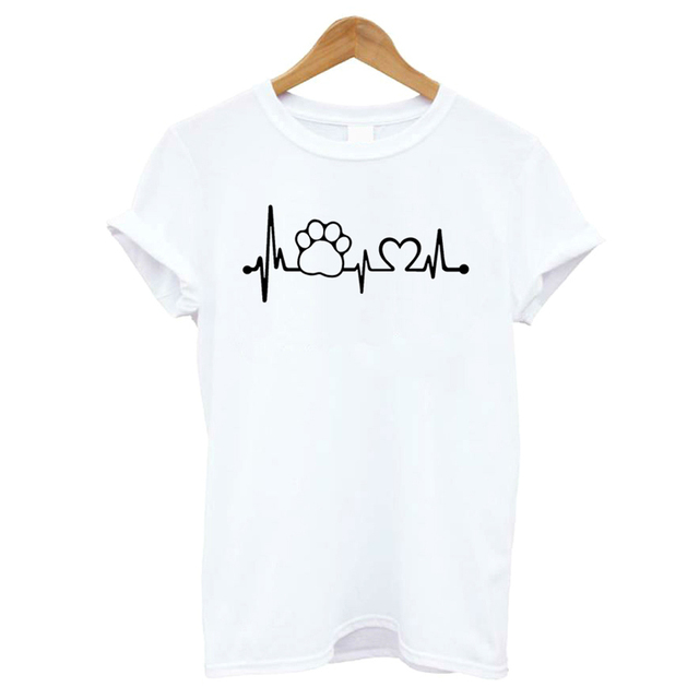 Women's Cat Paw and Heartbeat Printed T-shirt