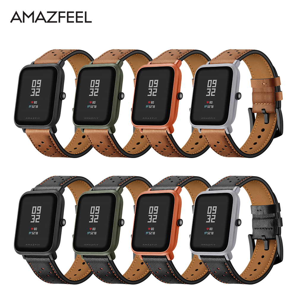 Amazfit Bip Band Leather for Original Xiaomi Huami Amazfit Smart Watch Youth Edition Huami Bip BIT Lite Watch Band Pulsera 20mm original replacement strap for xiaomi huami amazfit sport smart watch original replacement wristband for xiaomi huami amazfit