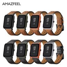 Bip Amazônia Banda De Couro para Original Xiaomi Huami Amazônia Relógio Inteligente Edição Juventude Huami Bip POUCO Lite Faixa de Relógio Pulsera 20mm