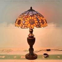 16inch European sunflower Tiffany Table Lamp Style Stained Glass Lamp for Bedroom Bedside Lamp E27 110 240
