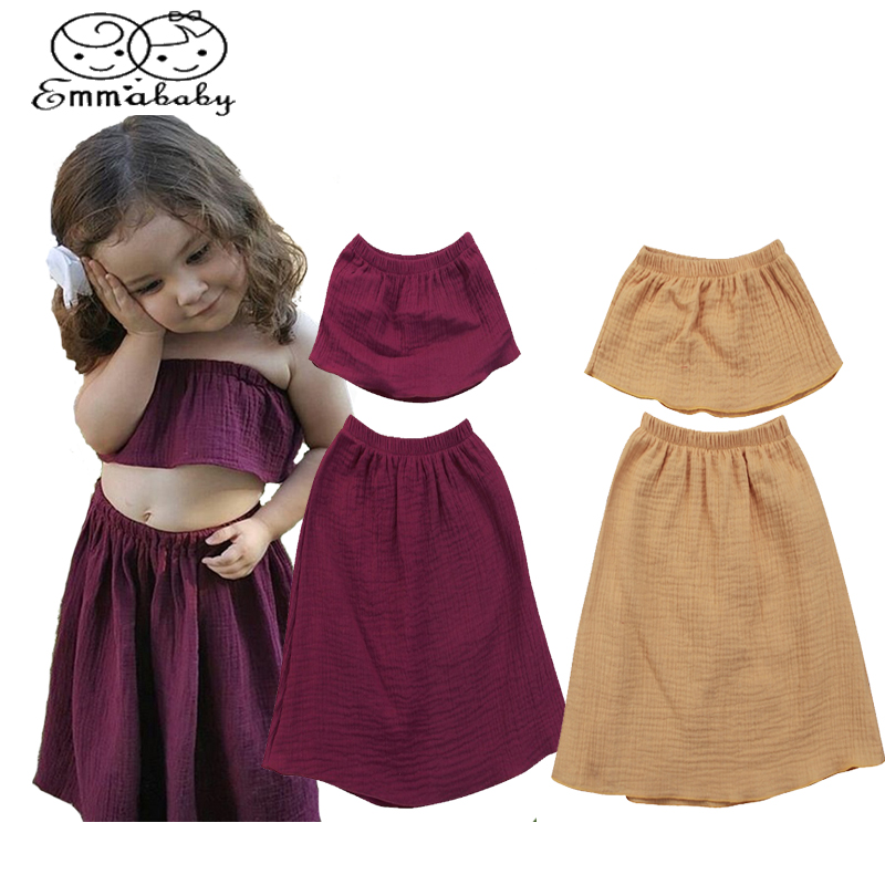 Emmababy Summer Newborn Toddler Baby Girls Off Shoulder Tops+Skirt 2pcs casual Clothing Set