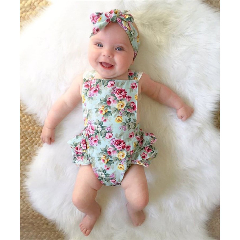 Summer Babys Girls Romper Newborn Kids Baby Girls Floral Lace Jumpsuit Romper+Floral Headband Outfits Set NDA84L27