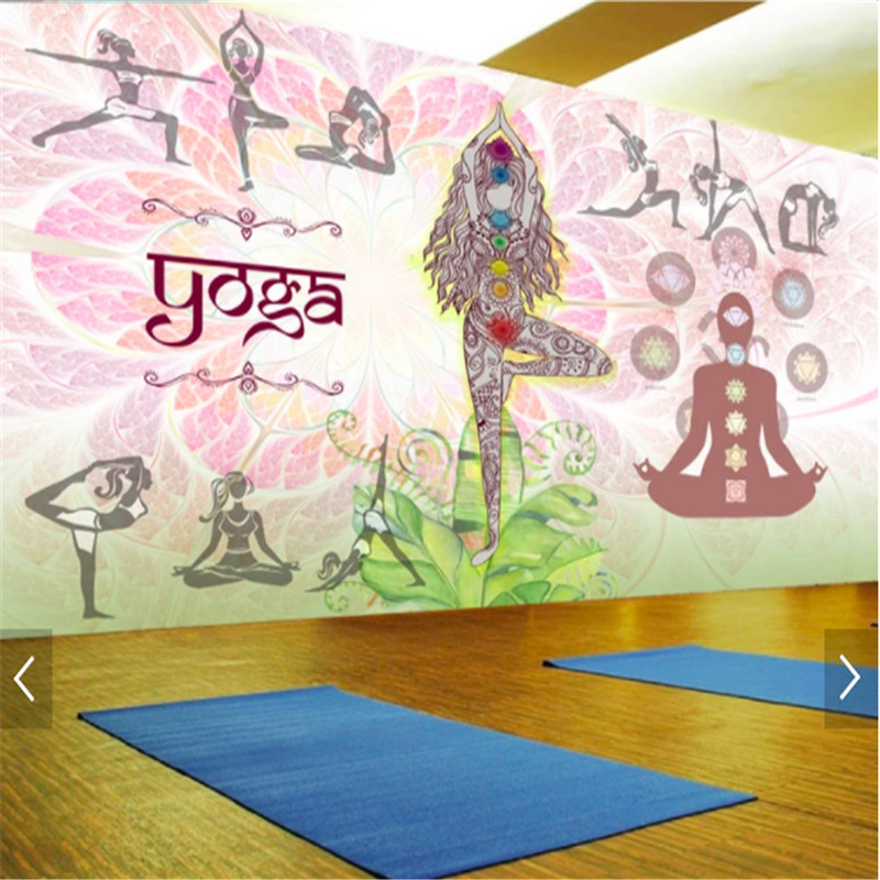 yoga background gym wall decoration mural paper living wallpapers commerce modern
