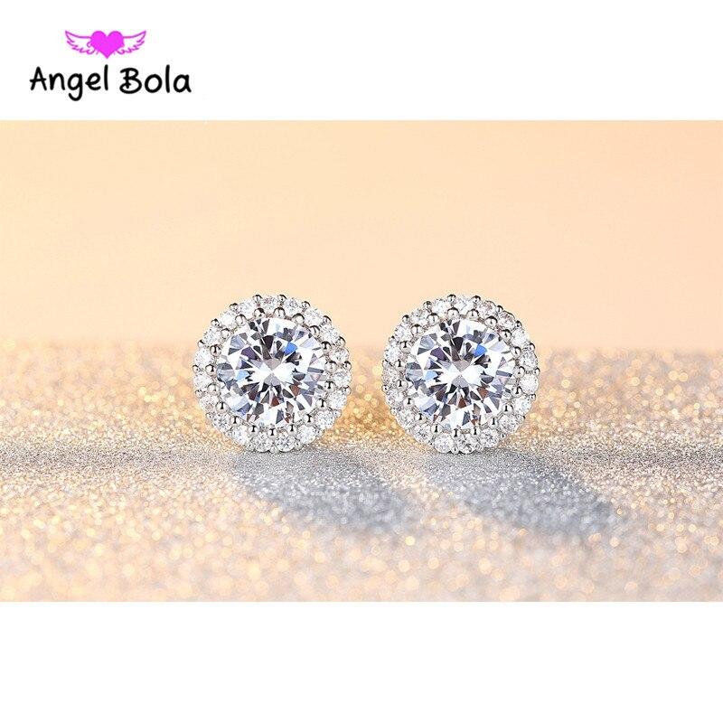 10pcs/lot Women Jewelry Earrings Popular Luxury Big White Zircon Stud Earrings Around Paved Cubic Zirconia Wedding Accessories