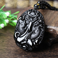 Natural Jade Black Obsidian Hand Carved Chinese Dragon Buddha Lucky Amulet Double Fish Pendant Fashion JewelryDropshipping