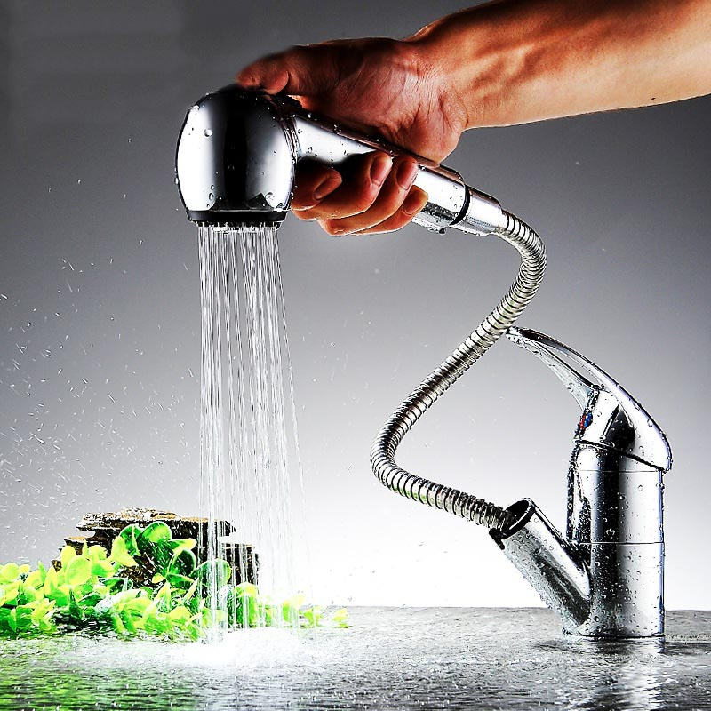 High Basin Faucets Pull Out Bathroom Mixer Taps Hot & Cold Deck Mounted Kitchen Faucets ALI88 цена