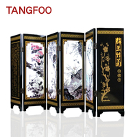 Table Decoration Chinese Style Ornaments Antique Lacquer Mini Folding Screen Room Dividers Wooden Arts Crafts Gift Home Decor