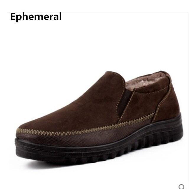 Erkek Ünlü Marka Kayma-Artı boyutu 37-50 Üzerinde Kalın Tabanlar Eski Pekin Platformu Ayakkabı Moda Kış kürk Sıcak Adam Pamuk Ayakkabı