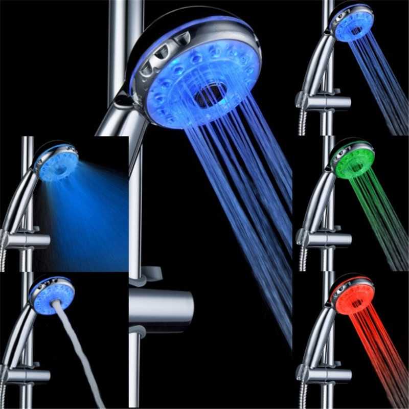 Three Mode Romantic 3 Color Temperature Sensor Water Glow Led Shower Head Bathroom Spa