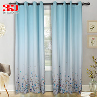 Gradient Blue Blackout Curtains for Living Room Decoration Purple Flowers Fabric Shading Blinds for Curtains Windows Treatments