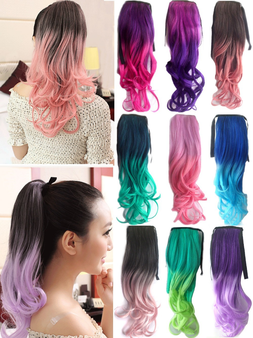 10colors Ladies Girls One Piece Wavy Ponytail Clip In Long Hair