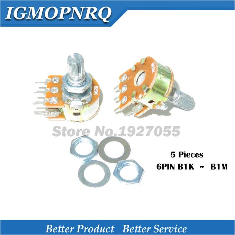 5pcs WH148 B1K B2K B5K B10K B20K B50K B100K B500K B1M 6Pin 15 Shaft =15 6Pin 15mm Shaft Amplifier