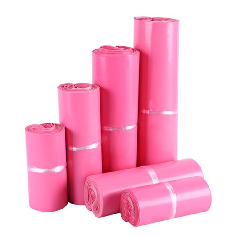 10 шт./компл. розовая клейкая курьерская упаковка, водонепроницаемая логистическая Поли Экспресс-почтовый конверт, пластиковый пакет для хр...
