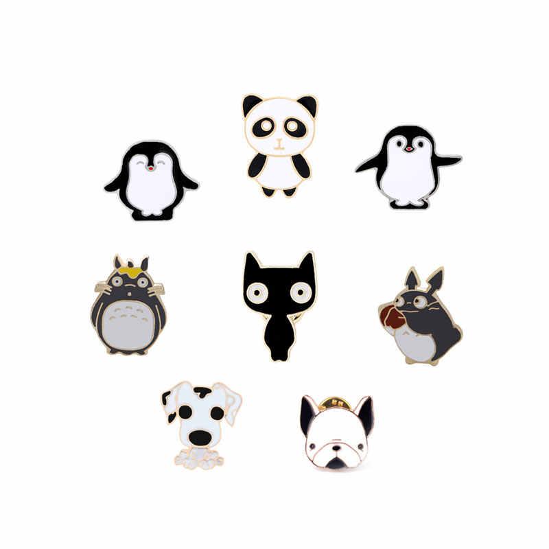 Lucu Kartun Hitam Putih Bros untuk Wanita Panda Penguin Kucing Anjing Enamel Jilbab Pin Lencana Kerah Pin Kemeja Jaket Pria perhiasan