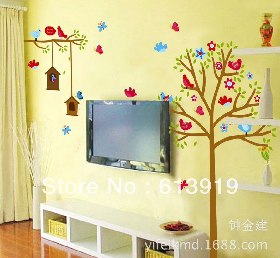 Free Shipping Hot selling Cute Bird &Bird Cage&Tree Kids Room ...