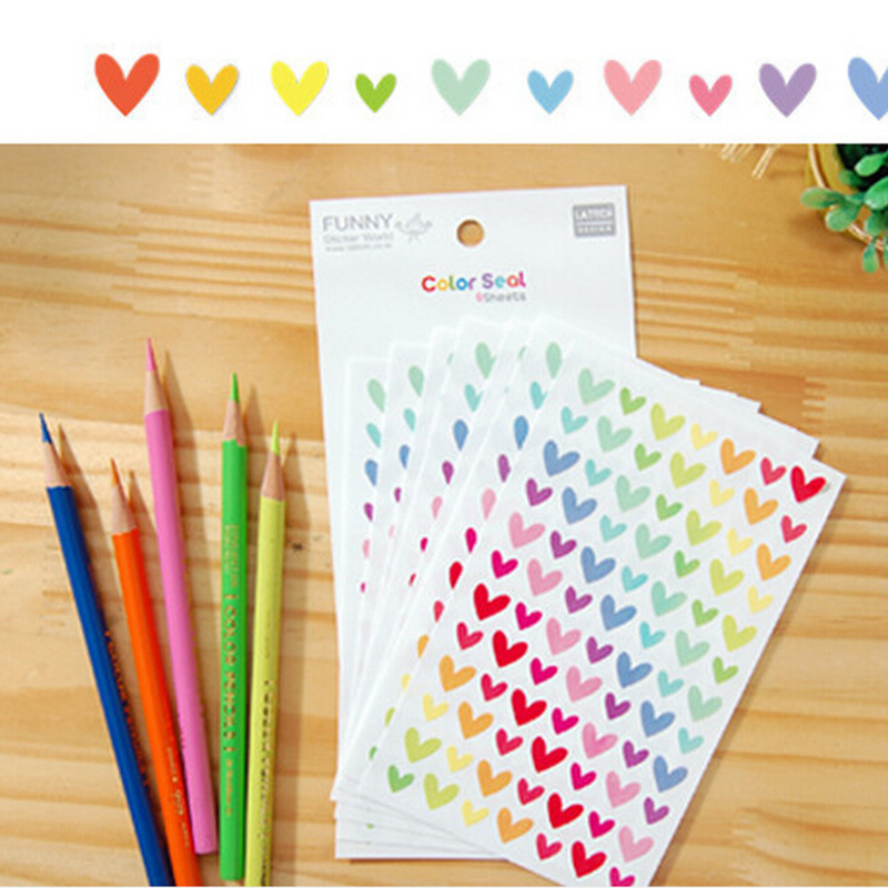 6 Pcs / Pack Colorful Seal Cute Love Heart Dot Five-pointed Star Decoration Scrapbooking Paper Stickers Stationery sticky notes star shaped sticky notes